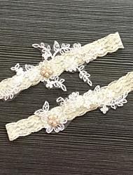 Подвязка Кружева Кружева Стразы Слоновой кости