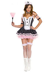 Cosplay Costumes Party Costume Maid Costumes Career Costumes Movie Cosplay Pink Solid Dress Headwear Halloween Carnival Female Polyester