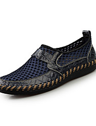 Men's Loafers & Slip-Ons Fall Winter Comfort PU Casual Flat Heel Slip-on Blue Brown Green Others