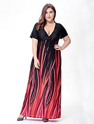 Balançoire Robe Femme Grandes Tailles Bohème,Imprimé V Profond Maxi Manches Courtes Noir Polyester Spandex Printemps Taille Normale