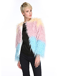 Women's Casual/Daily Simple Fur Coat,Rainbow Round Neck Long Sleeve Winter Pink Faux Fur Medium