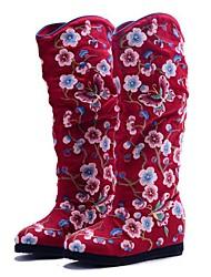 Women's Boots Spring Fall Winter Comfort Canvas Outdoor Dress Casual Wedge Heel Flower Black Red Walking