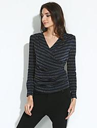Tee-shirt Femme,Rayé Décontracté / Quotidien Grandes Tailles Chic de Rue Printemps Automne Manches Longues Col en V Bleu Rouge Vert Argent