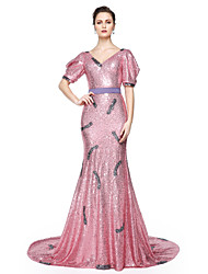 2017 TS Couture® Formal Evening Dress - Sparkle & Shine Celebrity Style Trumpet / Mermaid V-neck Floor-length Sequined withSash / Ribbon