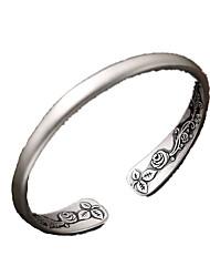 Damen Manschetten-Armbänder individualisiert Matt Einstellbar Ohne Verschluss Sterling Silber Blumenform Rose Silber Schmuck FürAlltag