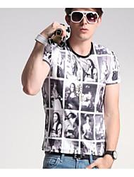 Herren Solide Geometrisch Einfach Lässig/Alltäglich T-shirt,Rundhalsausschnitt Frühling Herbst Kurzarm Weiß Schwarz Seide