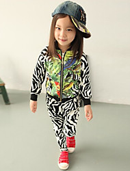 Unisex Cotton Fashion Spring/Fall Going out Casual/Daily Cartoon Print Coat & Pants Zebra-stripe Two-piece Set Sport Suit