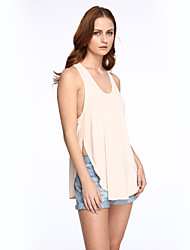 Women's Casual/Daily Street chic Summer Racerback Loose Large Size Tank Top,Solid U Neck Sleeveless