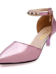 Women's Sandals Fall Winter Comfort PU Casual Low Heel Slip-on Pink Purple Silver Gold Others