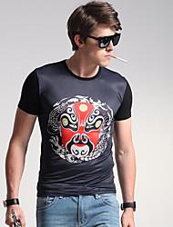 Herren Solide Punkt Einfach Lässig/Alltäglich T-shirt,Rundhalsausschnitt Frühling Kurzarm Schwarz Baumwolle
