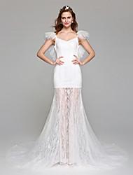 Lanting Bride® Trapèze Robe de Mariage  Tout Simplement Superbe Longueur Sol Epaules Dénudées Dentelle Tulle avec Dentelle