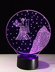 1шт Virgo красочные видения стерео светодиодные лампы 3d лампа свет красочный градиент акриловую лампа ночного видения света