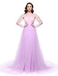 TS Couture Formal Evening Dress - Furcal Celebrity Style A-line Jewel Floor-length Chiffon with Pleats