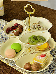 European Afternoon Tea. Multilayer Fruit. Disc Pastry all The Plate Ceramic Two-Tier of Dried Fruit Cake Plate Tray