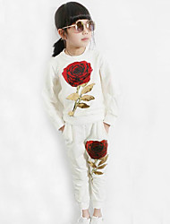Girls Fashion Print Cartoon Sequins Roses Fleece Pants Two-Piece Outfit
