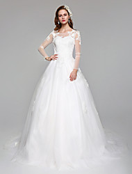 2017 Lanting Bride® A-line Wedding Dress Open Back Floor-length Jewel Lace Tulle with Appliques