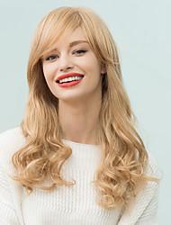 élégant longs cheveux ondulés humaine charmante frange sur le côté perruques style européen et américain