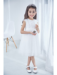 Princess Knee-length Flower Girl Dress - Cotton Lace Sleeveless Jewel with Beading Bow(s) Lace
