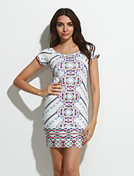 Women's Casual/Daily Sexy / Vintage Backless Slim Bodycon Dress,Print Round Neck Above Knee Short Sleeve