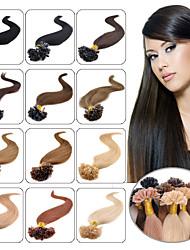 natural do cabelo de fusão u-ponta extensões de cabelo humano 100s peruana pré-ligado u-ponta da extensão do cabelo 0,5 g reta / fio