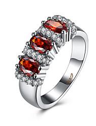 Anéis Zircônia cúbica Diário Casual Jóias Zircão Cobre Aço Titânio Feminino Anel 1peça,6 7 8 9 Vermelho