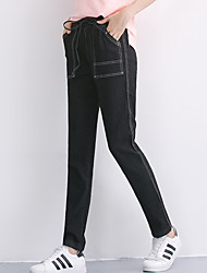 Women's Mid Rise Micro-elastic Jeans Pants,Simple Harem Solid