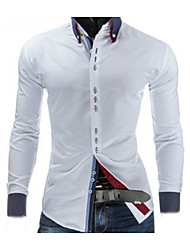 Men's Going out Work Simple Spring Shirt,Solid Shirt Collar Long Sleeve Blue Red White Black Cotton Medium
