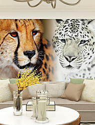 JAMMORY Lion Leopard With The Box 3D Fashion Wallpaper Personality Wallpaper Mural  Wall Covering Canvas Material Golden ChurchXL XXL XXXL