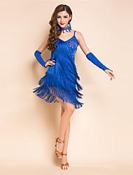 Dança Latina Vestidos Mulheres Actuação Elastano Fibra de Leite Cristal/Strass Borla(s) Recortes 5 Peças Sem Mangas AltoLuvas Vestidos
