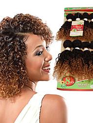 Натуральные волосы Бразильские волосы Омбре Кудрявые Вьющиеся волосы Наращивание волос 1 шт. Черный / Клубника Blonde Черный / Medium