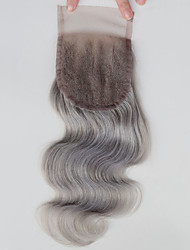 Gray Lace Top Closure Free Middle Part Body Wave 4x4 Brazilian Human Virgin Remy Hair