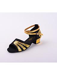 Kids' Dance Shoes Satin Paillette Latin Salsa Sandals Low Heel Practice Beginner Professional Indoor Customizable