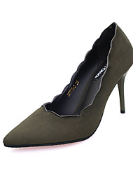 Women's Heels Fall Winter Comfort PU Casual Low Heel Slip-on Black Green Gray Others