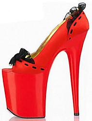 Damen-High Heels-Outddor Kleid Lässig Party & Festivität-PU-Stöckelabsatz-Komfort Neuheit Club-Schuhe-Schwarz Rot