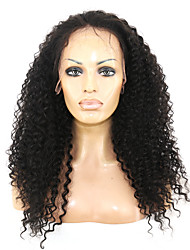 100% Human Virgin Human Hair Natural Black Color Kinky Curly Lace Front Wig With Baby Hair