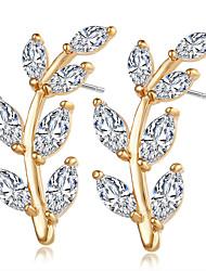 Brincos Curtos Cristal Imitação de Diamante Zircônia cúbica Jóias de Luxo Zircão Zircônia Cubica Imitações de Diamante Liga Dourado Prata