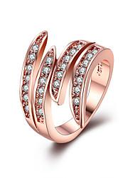 Anéis Zircônia cúbica Casual Jóias Aço Inoxidável Feminino Anel 1peça,6 7 8 9 Ouro Rose