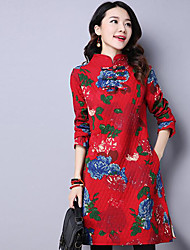 Women's Going out Vintage Loose Dress,Print Round Neck Knee-length Long Sleeve Blue Rayon Fall Winter Mid Rise Micro-elastic Medium