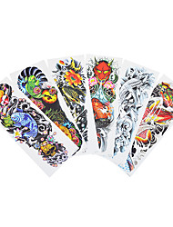 6pcs Women Men Body Art Fish Pattern Temporary Fake Full Arm Flower Tattoo Sticker Colored Drawing Big Large