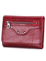 Contacts  Genuine Leather Women Short Trifold Wallet Casual Office & Career-Wallet-Cowhide-Women