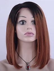 130% della densità peruviano parrucca bob parte anteriore del merletto dei capelli virign capelli lisci due toni ombre nero / colore
