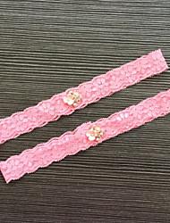Подвязка Кружева Кружева Стразы Розовый