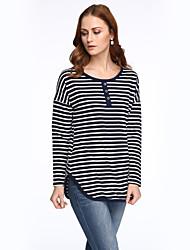 Damen Gestreift Einfach / Street Schick Lässig/Alltäglich T-shirt,Rundhalsausschnitt Frühling Langarm Blau / Weiß Baumwolle / Polyester