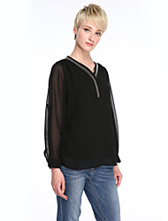 Women's Solid Black T-shirt , V Neck Sleeveless