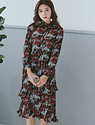 Women's Going out Holiday Vintage Cute Chiffon Dress,Floral Pleated Stand Midi Long Sleeve Polyester Blue Black Spring Mid Rise