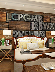 JAMMORY Magic Retro Wood Letters Background Wallpaper Mural  Wall Covering Canvas Material Golden Church XL XXL XXXL