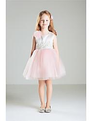 Princess Knee-length Flower Girl Dress - Cotton Jewel with Beading Bow(s)