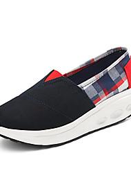 Damen-Loafers & Slip-Ons-Büro Lässig Sportlich-Stoff-Keilabsatz Creepers-Creepers Neuheit Kinderbett Schuhe-Beige Blau