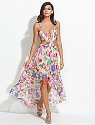 Women's Print Boho Vintage Hollow Out Backless Sexy Beach Pleated Plus Size Sheath Dress,Strap Midi