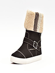 Women's Boots Winter Comfort Microfibre Suede Outdoor Office & Career Casual Flat Heel Buckle Light Grey Walking